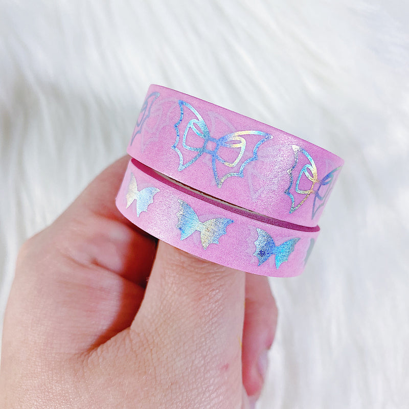 Pink Holo Bat Bow Washi Bundle