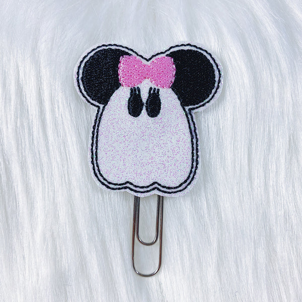 Minnie Ghost with Pink Bow Feltie Planner Clip