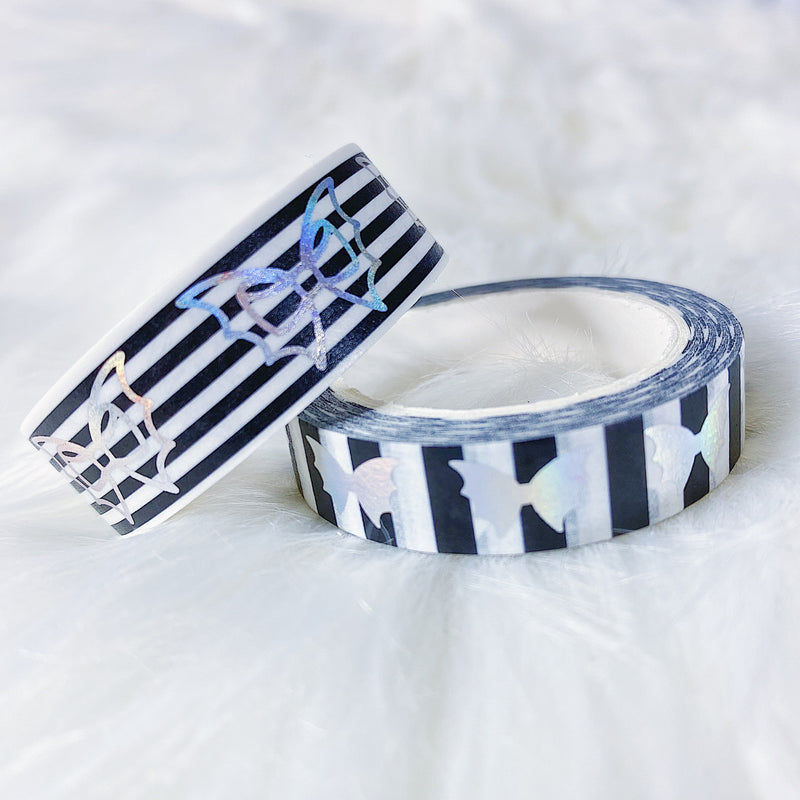 Striped Holo Bat Bow Washi Bundle