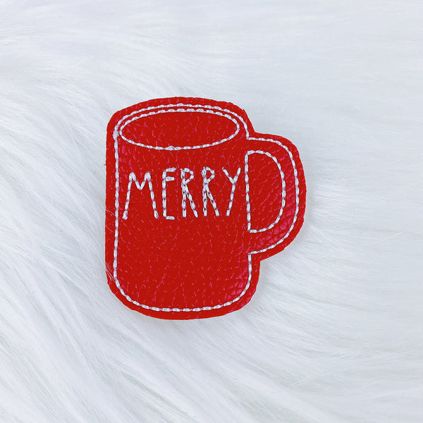 Red Merry Mug Feltie | CHOOSE YOUR HARDWARE