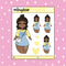 Tattooed Belle Babe Doodle Sticker | CHOOSE YOUR SKIN TONE