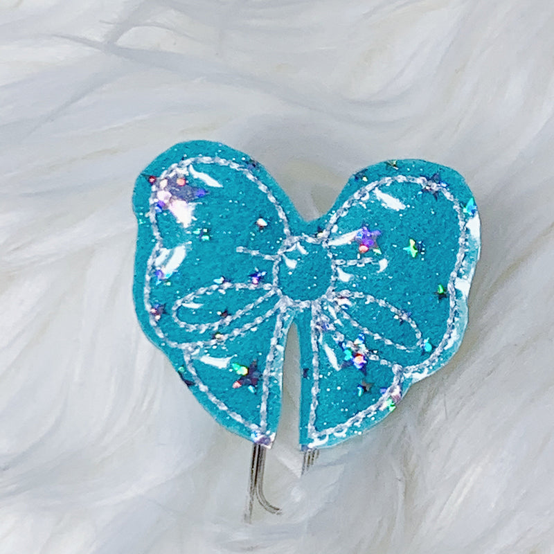 Teal Cotton Candy Bow Feltie Planner Clip