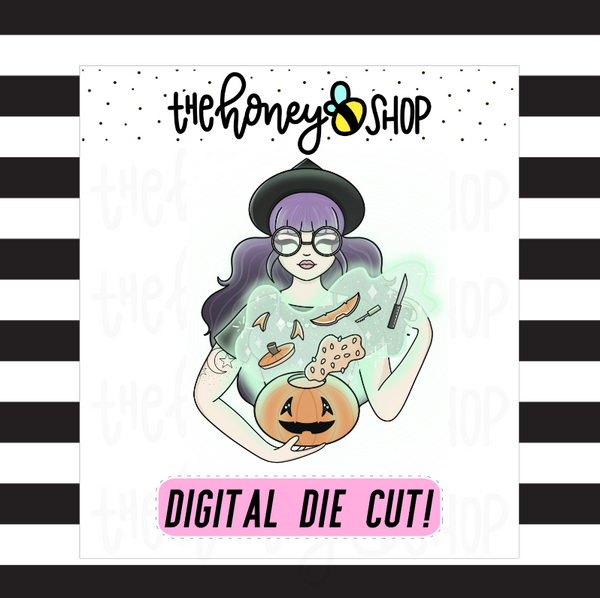 Traditional Pumpkin Witch Babe | DIGITAL DOWNLOAD | PICK YOUR SKIN TONE