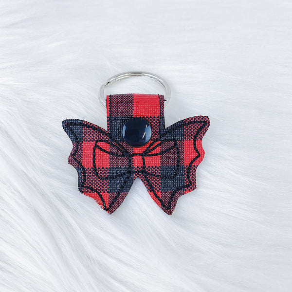 Red Buffalo Plaid Bat Bow Feltie Snap-Tab Charm