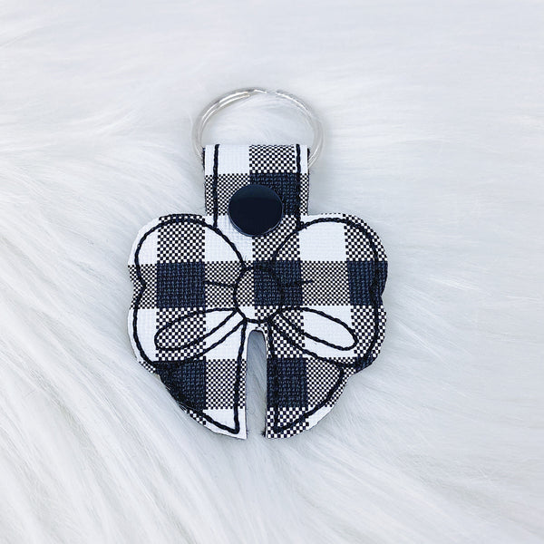 White Buffalo Plaid Bow Feltie Snap-Tab Charm
