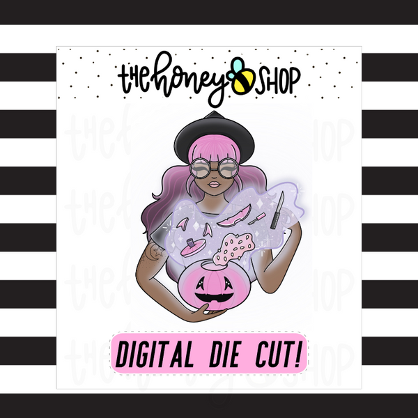 Pastel Pumpkin Witch Babe | DIGITAL DOWNLOAD | PICK YOUR SKIN TONE