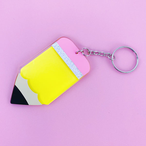 Pencil Acrylic Keychain | Includes Keyring