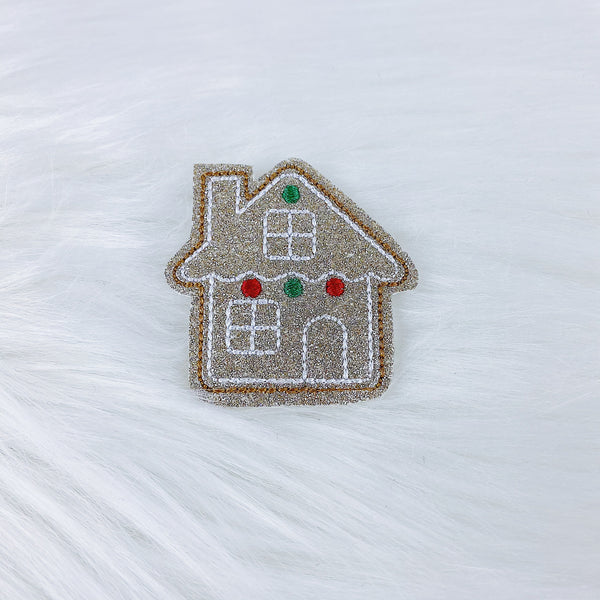 Glitter Gingerbread House Feltie | CHOOSE YOUR HARDWARE