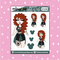 Tattooed Merida Babe Doodle Sticker | CHOOSE YOUR SKIN TONE