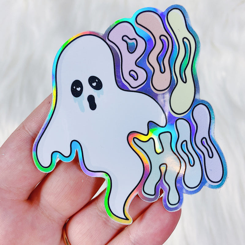 Boo Hoo Ghostie Vinyl Sticker Die Cut | Holographic Foiled