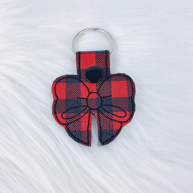 Red Buffalo Plaid Bow Feltie Snap-Tab Charm