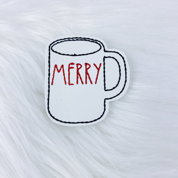 White Merry Mug Feltie | CHOOSE YOUR HARDWARE