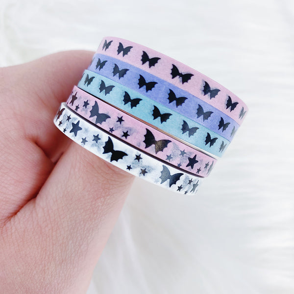 Pastel Pack Baby Bat Bows Perforated Header Washi Bundle | (5) 5MM Tapes