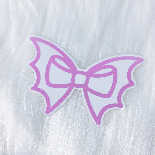 Pink Bat Bow CLEAR Vinyl Sticker Die Cut