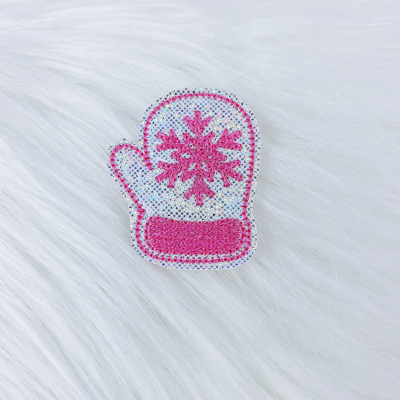Pink + Holographic Mitten Feltie | CHOOSE YOUR HARDWARE
