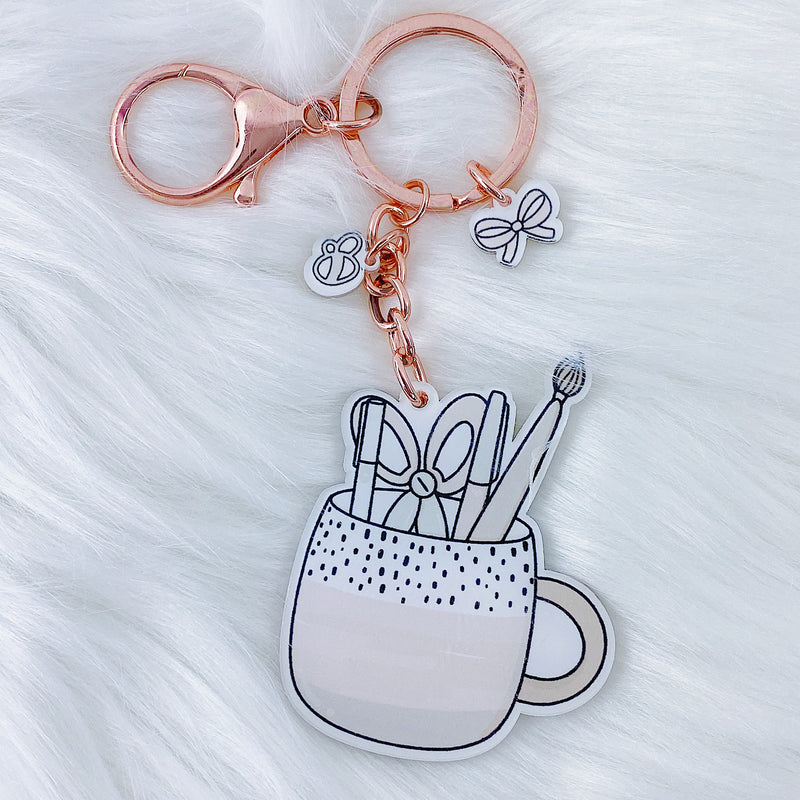 Blush Baby Pen Cup Acrylic Keychain | Rose Gold Hardware