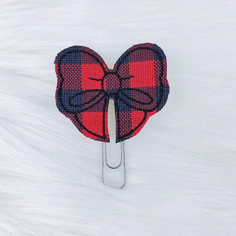 Red + Black Buffalo Bow Feltie | CHOOSE YOUR HARDWARE