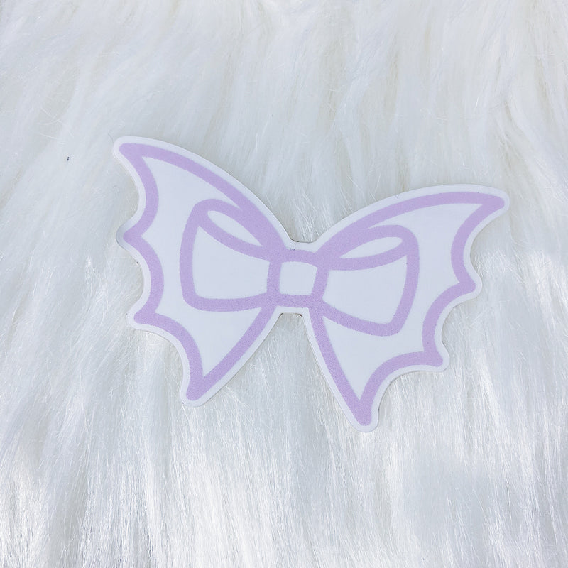 Purple Bat Bow CLEAR Vinyl Sticker Die Cut