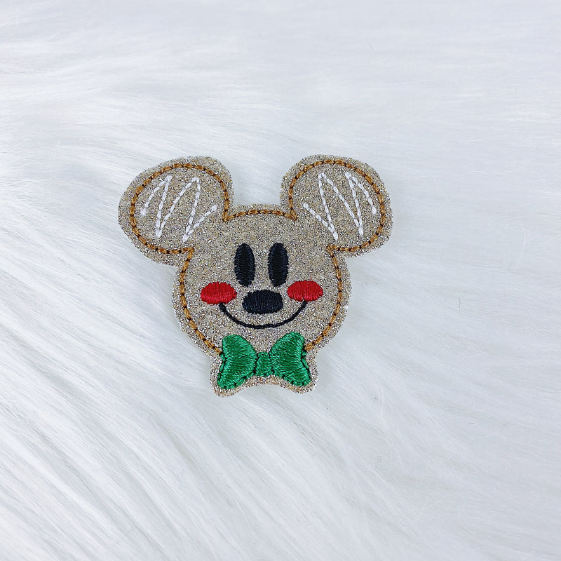 Glitter Mickey Gingerbread Feltie | CHOOSE YOUR HARDWARE