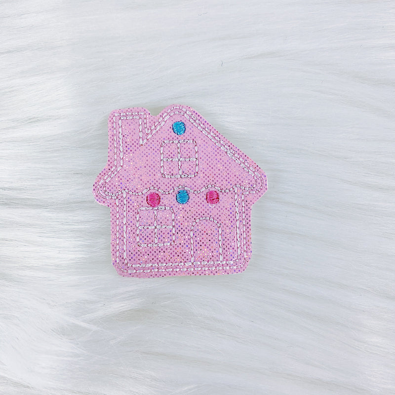 Pastel Pink Glitter Gingerbread House Feltie | CHOOSE YOUR HARDWARE