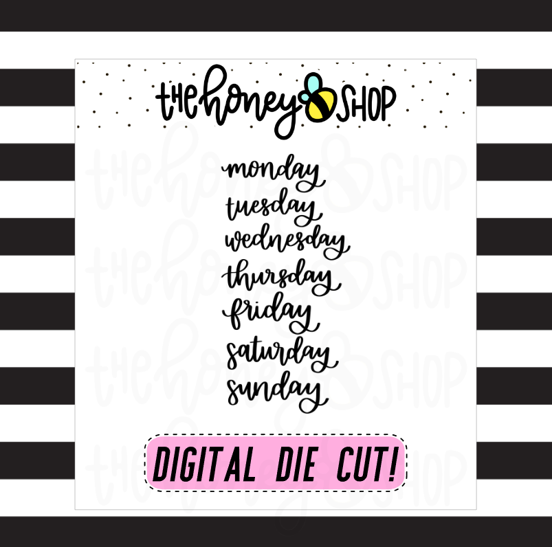Days of the Week Lettering | DIGITAL DOWNLOAD