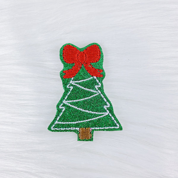 Glitter Green Christmas Tree Feltie | CHOOSE YOUR HARDWARE