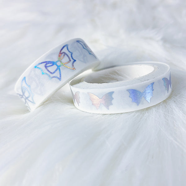 White Holo Bat Bow Washi Bundle