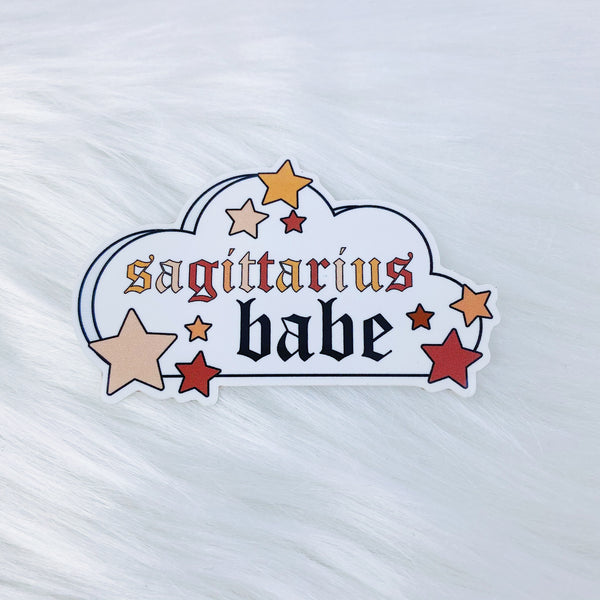 Sagittarius Babe Zodiac Cloud Vinyl Sticker Die Cut