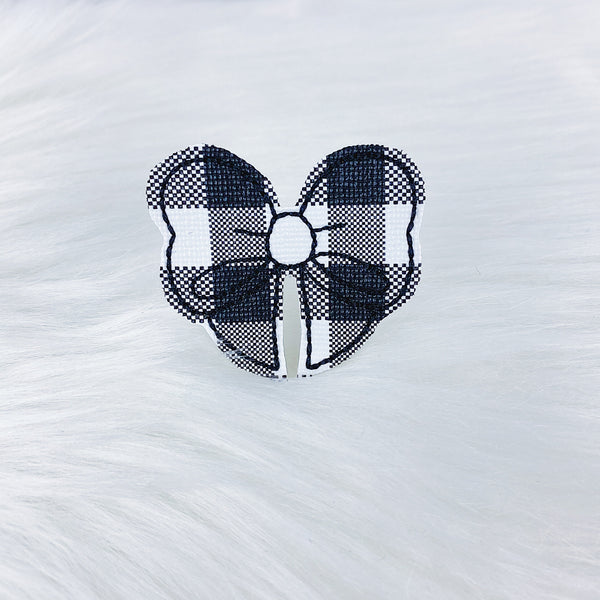 Black + White Buffalo Bow Feltie | CHOOSE YOUR HARDWARE