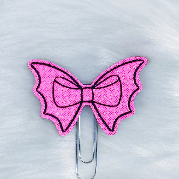 Hot Pink + Black Bat Bow Feltie Planner Clip
