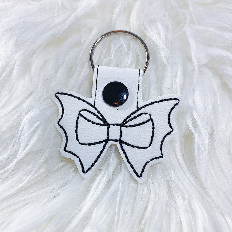 White with Black Stitching Bat Bow Feltie Snap-Tab Charm