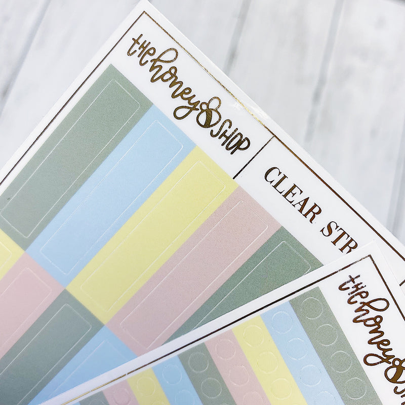 Modern Greenhouse Clear Sticker Sheets | Pack of TWO | Circles + Strips