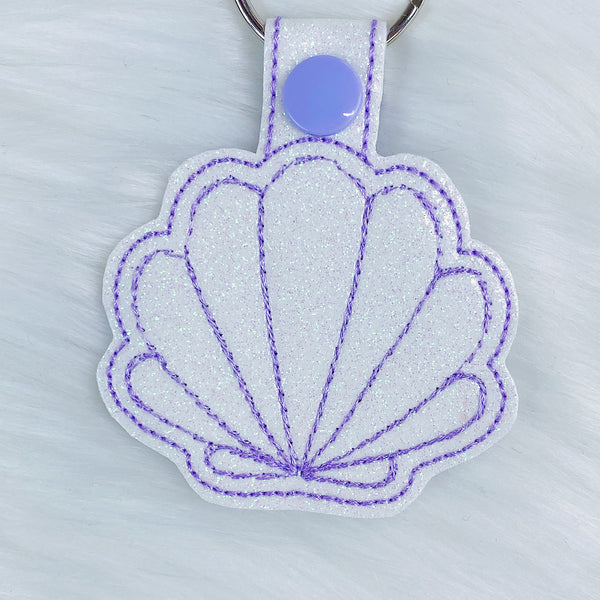 White + Purple Seashell Feltie Snap-Tab Charm