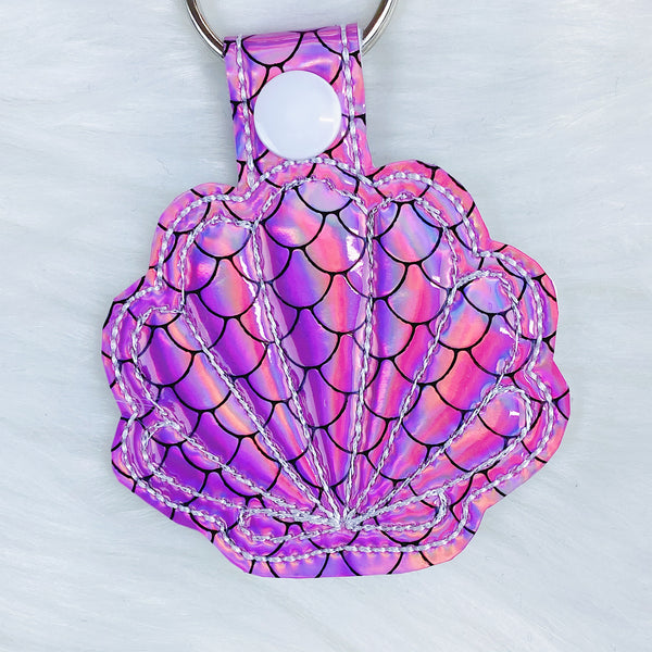 Pink Mermaid Seashell Feltie Snap-Tab Charm
