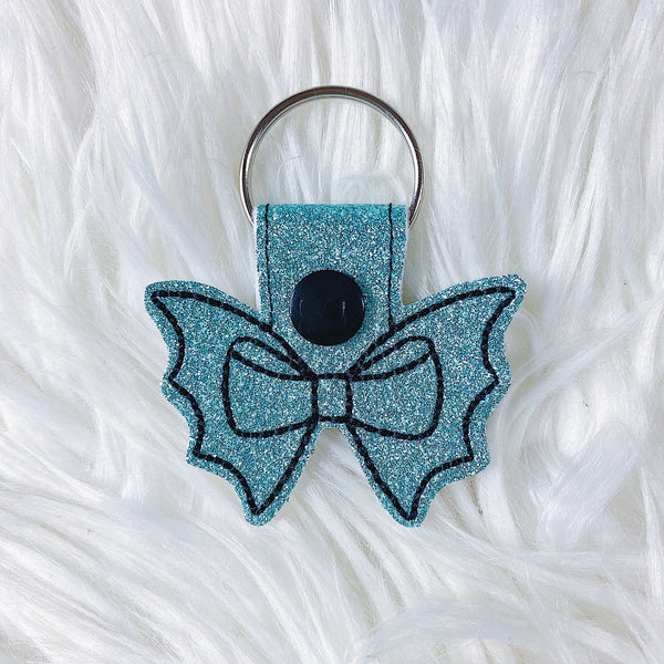 Turquoise Glitter with Black Stitching Bat Bow Feltie Snap-Tab Charm
