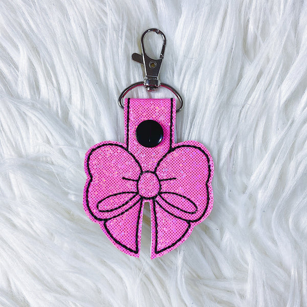 Hot Pink Glitter with Black Stitching Bow Feltie Snap-Tab Charm