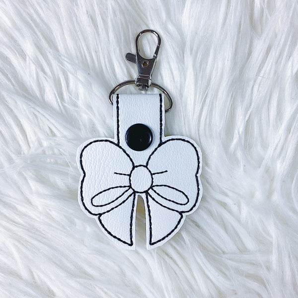 White with Black Stitching Bow Feltie Snap-Tab Charm