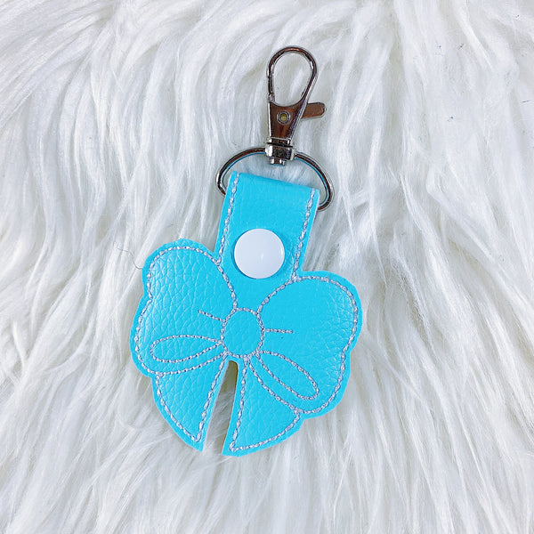 Light Blue with White Stitching Bow Feltie Snap-Tab Charm