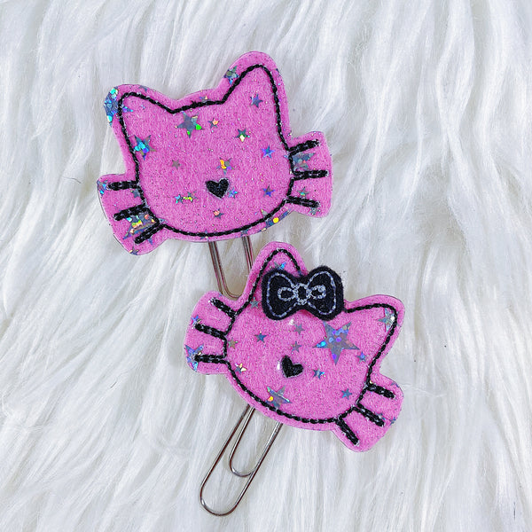 Pink Cat Feltie Planner Clip | WITH OR WITHOUT BOW