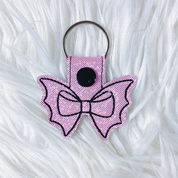 Light Pink Glitter with Black Stitching Bat Bow Feltie Snap-Tab Charm