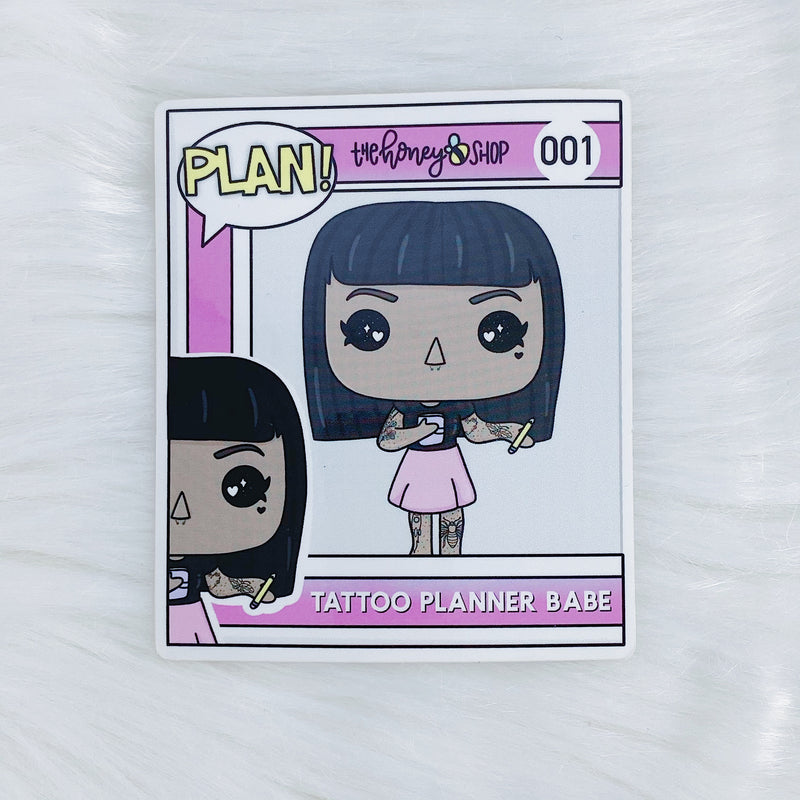 Tattoo Planner Babe POP Vinyl Sticker Die Cut | CHOOSE YOUR SKIN TONE