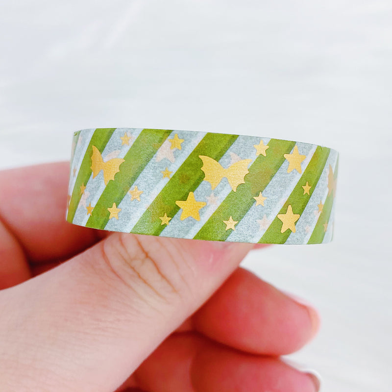 Jolly Green Candy Cane Bat Bow Washi Bundle