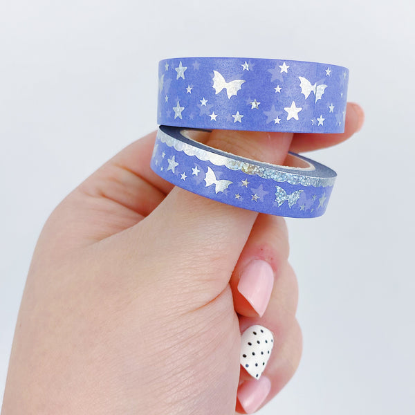 Personality Crisis 2.0 Bat Bow Magic Washi Bundle | 15 MM + 10 MM | Sparkly Holographic Foil