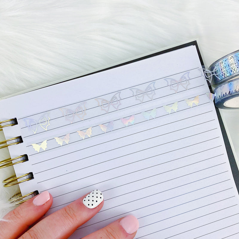 Clear Holo Bat Bow Washi Bundle