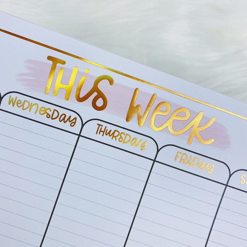 This Week Vertical Desk Notepad | Gold Holo Foiled