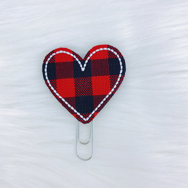 Red Buffalo Plaid Heart Feltie | CHOOSE YOUR HARDWARE