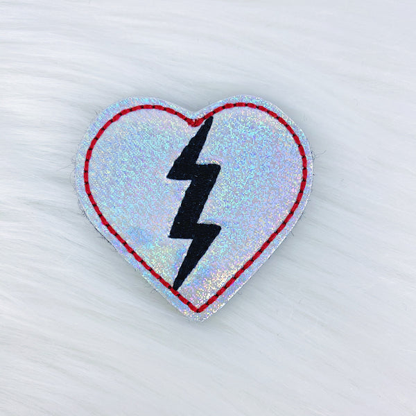 Red Holographic Broken Heart Feltie | CHOOSE YOUR HARDWARE