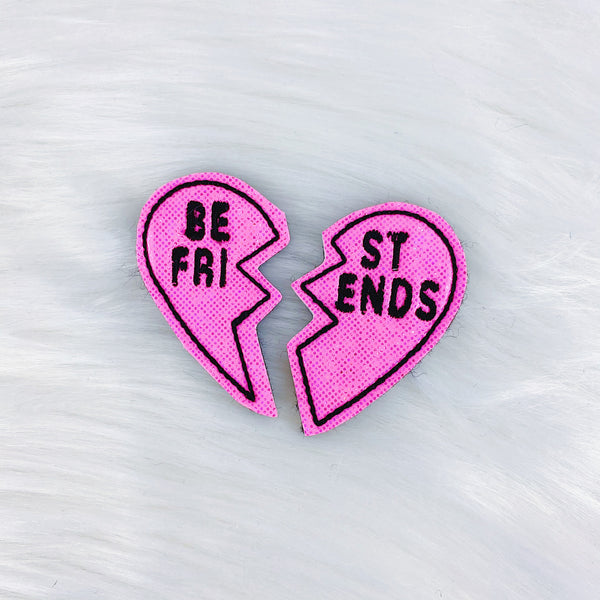 Black + Hot Pink Best Friend Heart Feltie Bundle | CHOOSE YOUR HARDWARE