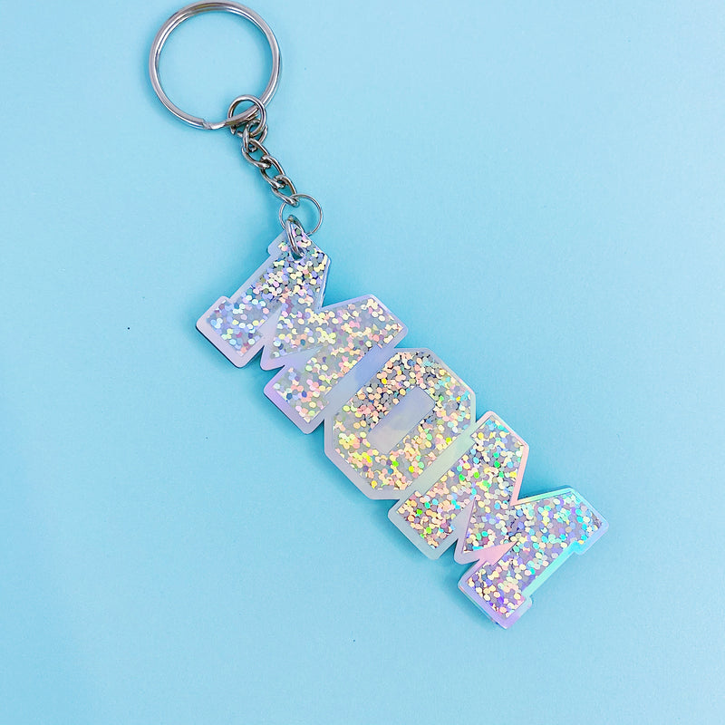 MOM Holographic Acrylic Keychain | Includes Keyring