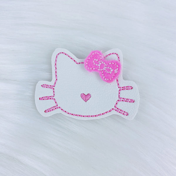 Pink Kitty Bow Feltie | CHOOSE YOUR HARDWARE